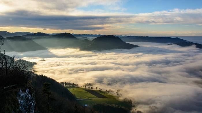 mountain, sunrise, shrubs, nature, clouds, field, Austria, landscape, valley, morning, mist