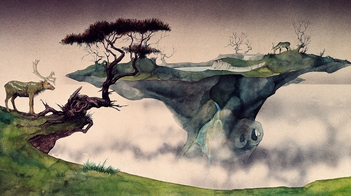 animals, painting, deer, roger dean, trees, ink, nature, mist, fantasy art, lake, watercolor, floating island