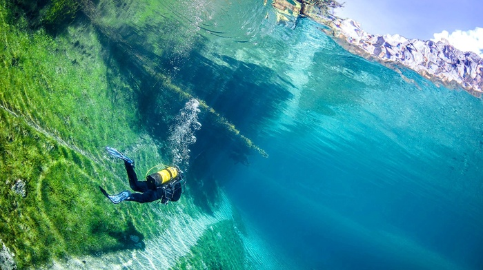 Grner See, bubbles, underwater, Austria, lake, water, divers