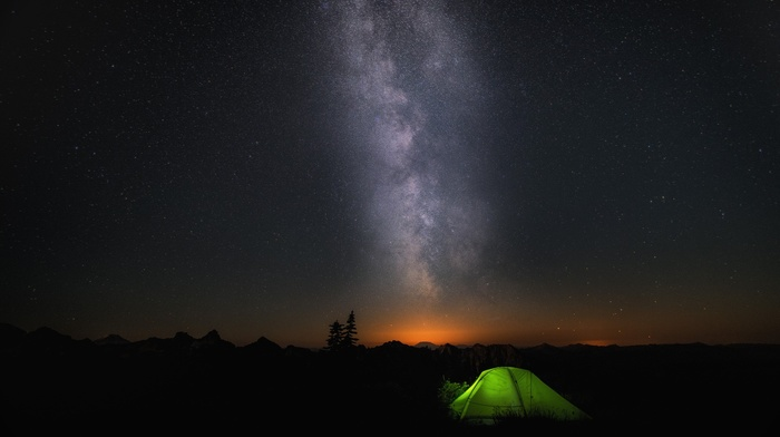 Microsoft Windows, night, Windows 10, galaxy, tents