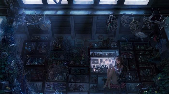 room, detailed, anime girls