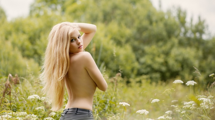 arms on chest, girl, blonde, holding boobs, sensual gaze, looking at viewer, topless, short shorts