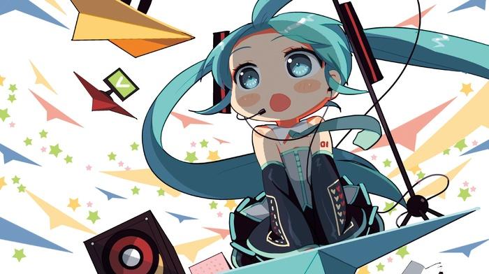hair ornament, aqua eyes, headsets, chibi, long hair, blushing, Vocaloid, skirt, open mouth, twintails, Hatsune Miku, bare shoulders, anime girls, aqua hair, detached sleeves, tie