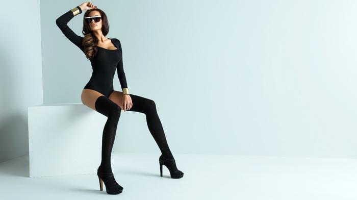 black stockings, girl, black heels, sitting, girl with glasses, high heels, leotard, white background