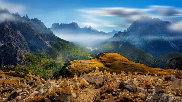 forest, Alps, clouds, lake, mist, Italy, nature, landscape, mountain, valley