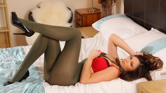 lingerie, pantyhose, Louisa Marie, bra