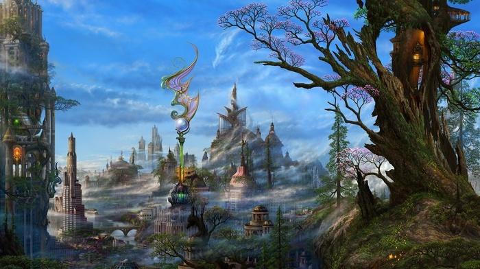 landscape, trees, skyscraper, water, clouds, building, lamps, bridge, sphere, hill, digital art, fantasy art, dragon, mist, town