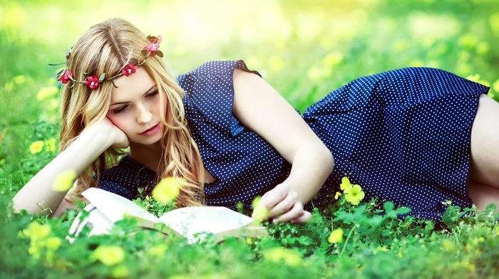 grass, reading, model, blue dress, girl outdoors, girl, polka dots, yellow flowers, field, nature, flower in hair, books, long hair, lying down, blonde