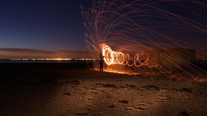 in, Line, light painting, night, lights, circle, photography, motion blur