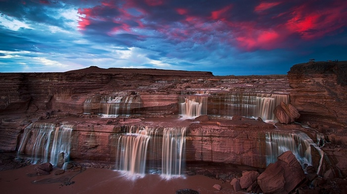 clouds, nature, erosion, Arizona, waterfall, landscape, chocolate, sunset