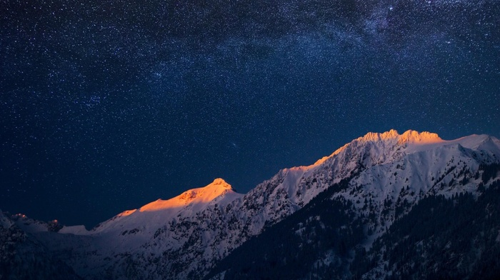 snow, trees, landscape, mountain, stars, nature, sunset, forest, clear sky, evening
