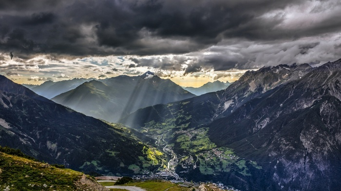 Alps, sunlight, mountain, villages, nature, Austria, landscape, sun rays, house, trees, forest, clouds, hill, road, valley