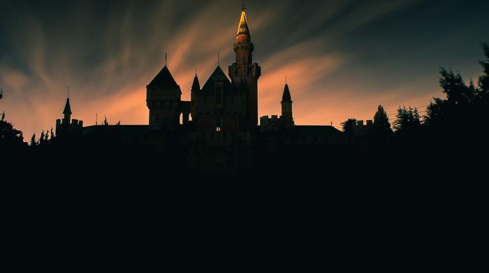 landscape, sunset, trees, evening, silhouette, nature, clouds, tower, long exposure, architecture, castle