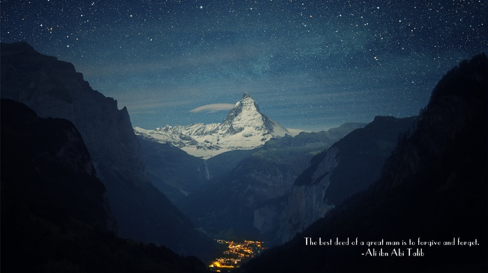 mountain, mountain pass, Ali ibn Abi Talib, Islam, stars, quote, town, Imam