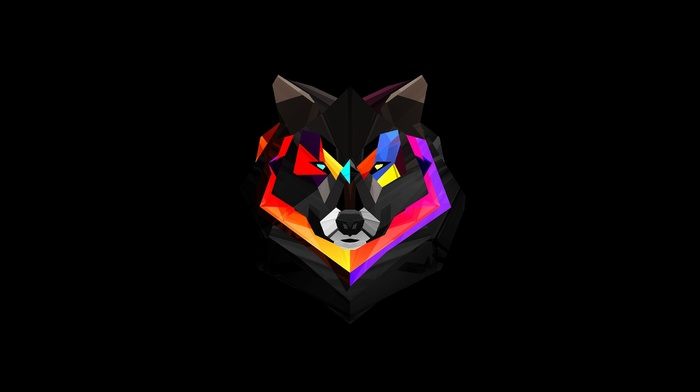 simple background, geometry, wolf, digital art, Justin Maller