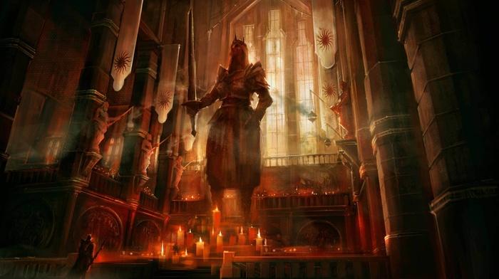 statue, temple, fantasy art, Dragon Age, concept art, Dragon Age II, video games, candles