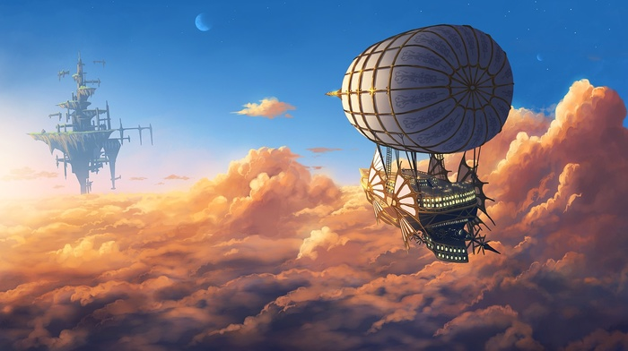 fantasy art, moon, aircraft, floating, sky, floating island, clouds