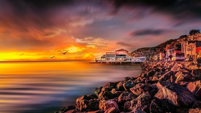 california, city, landscape, sea, nature, clouds, sunrise, coast, birds, yellow