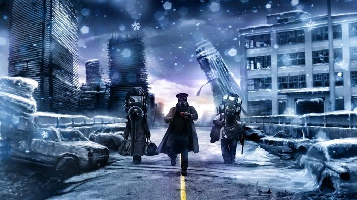 ice, bridge, romantically apocalyptic, vitaly s alexius, digital art, cup, Russia, tea, winter, gangnam style, snow, police