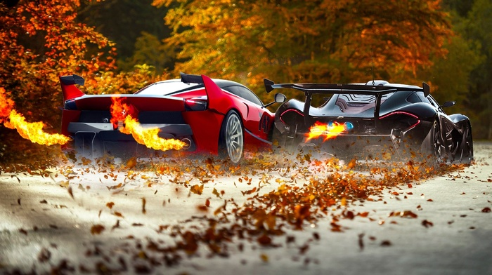 fire, car, Ferrari FXXK, race cars, McLaren P1