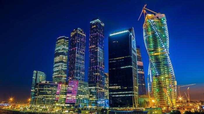 skyscraper, Moscow, night, cityscape, city, building, Russia