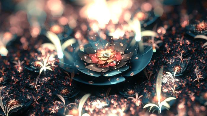 bokeh, abstract, digital art, depth of field, fractal, lights, fractal flowers