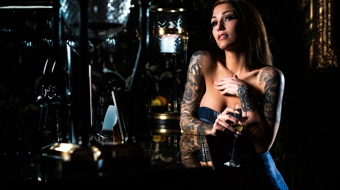tattoo, wine, girl, model