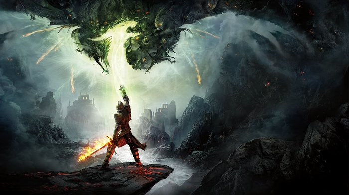 knights, Dragon Age Inquisition, video games, fantasy art, Dragon Age, fire