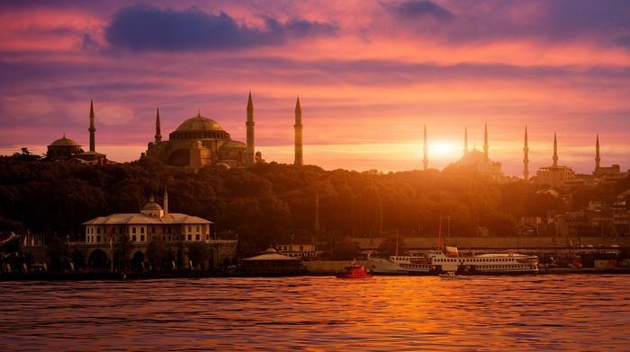 Istanbul, city, Turkey, Sultan Ahmed Mosque, cityscape, Bosphorus, Islamic architecture, sunset, Hagia Sophia, ship, sea, architecture