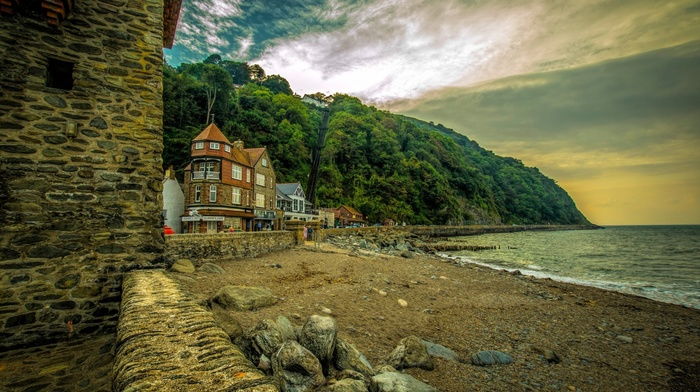 architecture, rock, sea, beach, trees, landscape, house, building, England, sand, coast, old building, HDR, stones, UK, nature, hill, Europe, overcast, forest