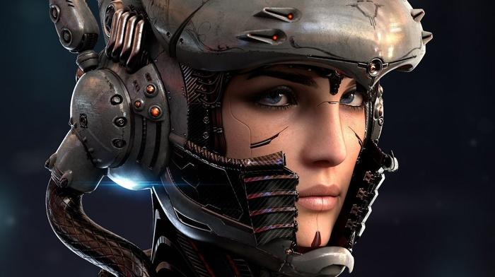 girl, technology, wires, face, bionics, robot, digital art, blue eyes, helmet, cyborg, lights