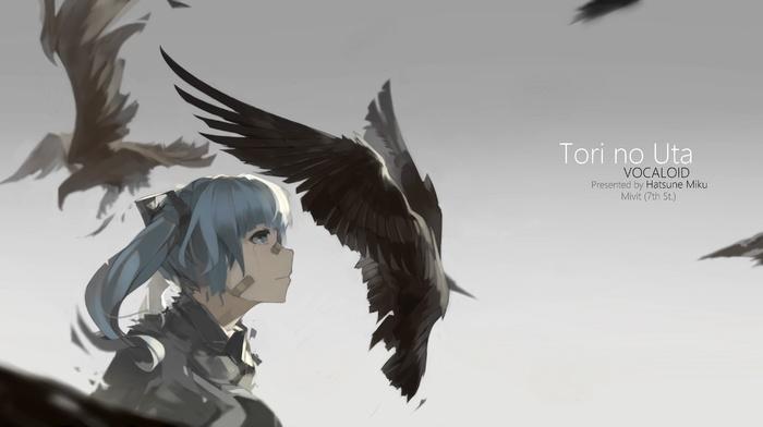 profile, shirt, blue hair, animals, anime girls, bangs, Hatsune Miku, blue eyes, hair ornament, Vocaloid, band, Aid, twintails, crow, long hair