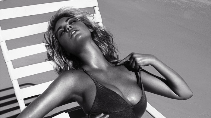 armpits, closed eyes, open mouth, shadow, One, piece swimsuit, girl outdoors, blonde, sweat, cleavage, long hair, girl, deck chairs, model, sand, beach, Kate Upton, monochrome
