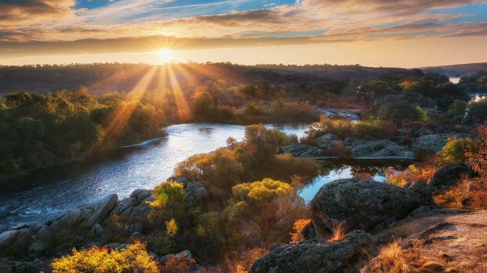 fall, Ukraine, shrubs, landscape, nature, river, clouds, trees, sun rays, hill, water, sunrise