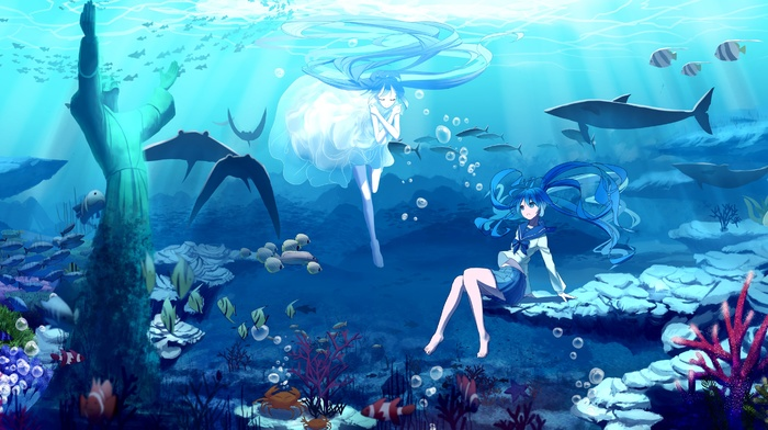 anime girls, fish, white dress, long hair, Hatsune Miku, anime, twintails, coral, crabs, statue, underwater, ribbon, manta rays, skirt, whale, Vocaloid