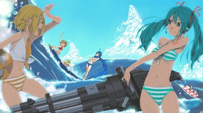 anime boys, Kagamine Rin, bikini, Vocaloid, Meiko, sea, anime girls, Hatsune Miku, Kaito, gun, Kagamine Len, swimwear