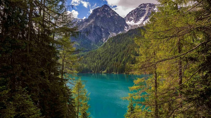 Italy, nature, mountain, lake, summer, turquoise, water, green, clouds, forest, landscape, Alps, trees