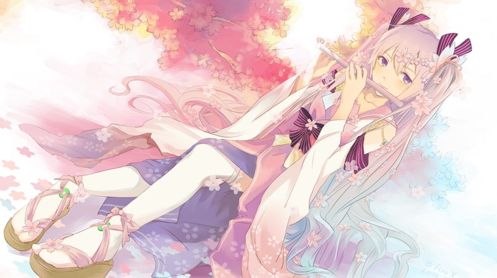 twintails, kimono, Vocaloid, flute, cherry trees, anime, Hatsune Miku, thigh, highs, anime girls, long hair, ribbon