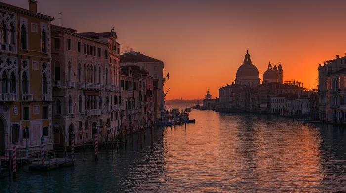 landscape, sea, architecture, water, Venice, sunrise, building, Italy, canal
