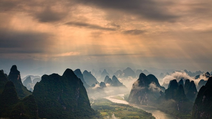 China, forest, landscape, nature, clouds, mist, mountain, sun rays, field, river, Guilin, sunrise