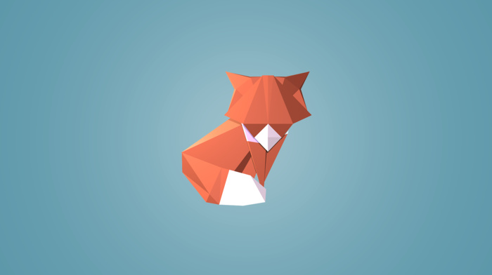 low poly, blue background, triangle, digital art, geometry, animals, fox, simple background
