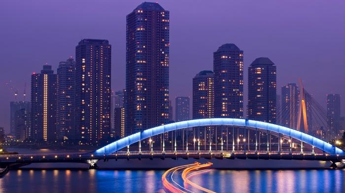 architecture, long exposure, reflection, light trails, street light, lights, city, cranes machine, Tokyo, cityscape, skyscraper, bridge, Japan, water, river, ship, building