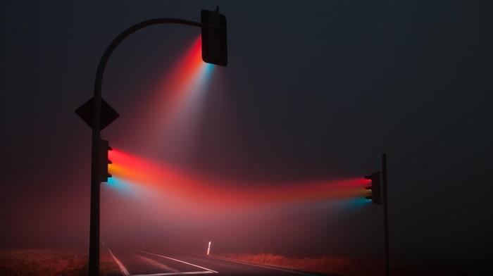 road, red, blue, traffic lights, lights, mist, traffic, stoplight
