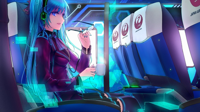 twintails, headphones, bangs, Blazers, cup, glasses, Hatsune Miku, alternate outfit, blue eyes, short skirt, blue hair