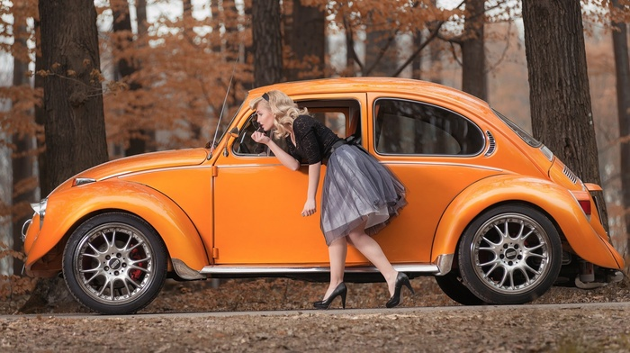 girl outdoors, stiletto, skirt, red lipstick, model, old car, black outfits, nature, blonde, long hair, girl, car, trees, Volkswagen Beetle, forest, fall, high heels