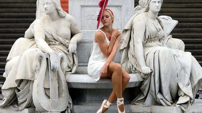 long hair, girl outdoors, ballerina, sculpture, girl, funny hats, blonde, closed eyes, sitting, artwork, bare shoulders, model, white dress, statue