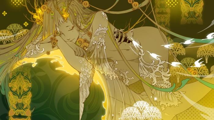 wings, sleeping, blonde, closed eyes, nude, original characters, long hair, gold, bangs, flowers, branch, anime girls