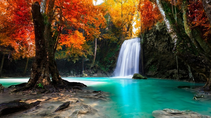 tropical, Thailand, fall, water, colorful, landscape, nature, forest, trees, waterfall