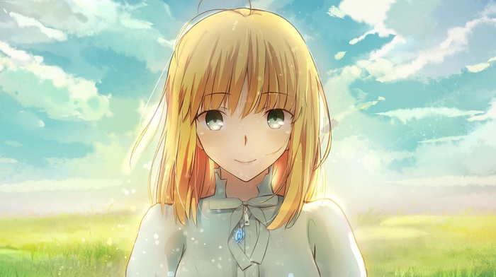depth of field, fate series, clouds, ribbon, gray eyes, Saber, bangs, smiling, sky, anime girls, blonde, solo, short hair, alternate outfit, grass