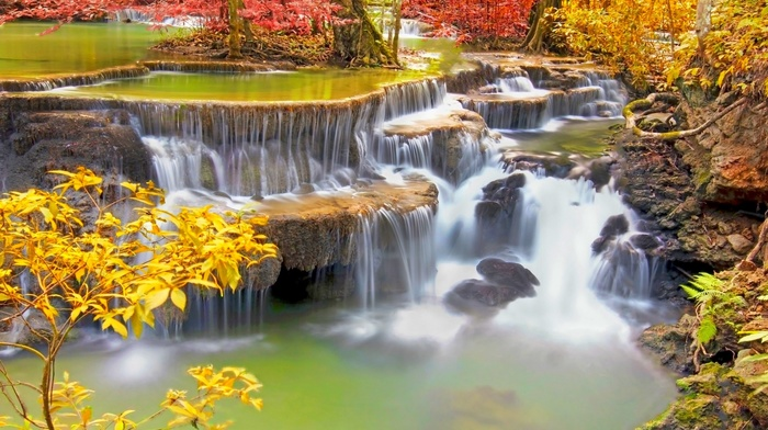 nature, waterfall, colorful, tropical, fall, Thailand, landscape, trees, roots